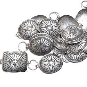 "Vintage Southwest Concho Belt Boho 925 Silver 36"""